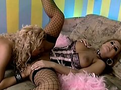 Ginger Jones and Dorothy Black are two hot blonde in fishnets and corsets. They lick each others pussies and titties excitedly.