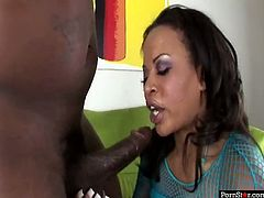 Hot tempered lustful ebony babe attacks one long black penis and energetically pounds her thirsting mouth with it deep inside. Take a look at this amazing ebony cock sucker in Pornstar sex clip!