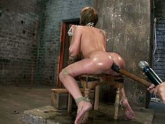 Superb chick gets oiled up and tied up with ropes. Then she gets her ass drilled with a hook and big dildo. This babe also gives deepthroat blowjob to her master.