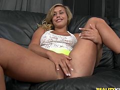 Playful blonde girl sucks big dick with a smile on her face. Then she gets fingered and fucked from behind. This babe gets a lot of pleasure.
