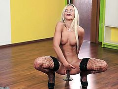 Blonde Dido Angel demonstrates her private parts before she plays with herself