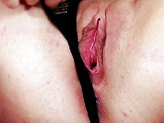 With small tits and smooth muff gives a closeup view of her love hole while masturbating with toy