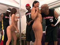 This dirty stripper makes house call and she visit two wealthy rappers so they can see what she has to offer. Their big cocks get hard as she is dancing and pretty soon she is sucking cock and getting a hot injection of big black dick.