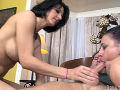 The whoop it out and that amazing double blowjob takes its start. He stuns from it and then pays back to them with a wild penetration!