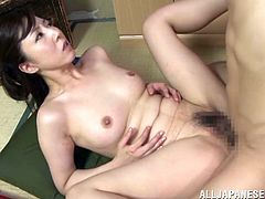 dark haired japanese mature satisfies her man