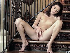Dark haired tasty looking sultry seductress Sweetie starved for pussy fingering. She sat on stairs and set on massaging her thirsting cunt with her sweet fingers. Watch this awesome cutie fingering in Babes porn video!