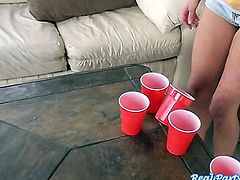 Babes playing strip pong leads to orgy