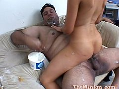 He stuffs his face and covers his fat chest with all kinds of creamy food then he drives his cock into her tight, wet pussy.