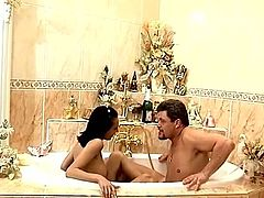 Sex in the bathroom with a charming brunette sex doll! She gives a damn hot head and he will always remember how tight her pussy is.