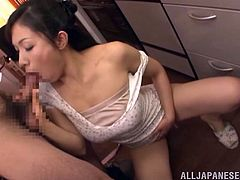 Get a load of this hardcore scene where the horny Yukino Shindou gets fucked by her man's hard cock in the kitchen.