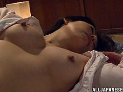 She's so horny that her nipples are perky now and her mouth opens with desire. Sorami is a delicate Japanese Mature that needs a hard fuck to get off. Watch her how she puts her hand underneath her panties and masturbate. Then, Sorami takes off her panties wanting to fuck herself harder. Want to keep her company?