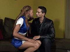 Gabriel feels attracted by this skinny shemale cheerleader. Soon, Gabriel finds out that this bitch has more then she shows. Underneath her cheerleader skirt, Vanilla keeps a big, bad cock! He's more then happy with the discovery and kneels to suck her hard. After such a passionately head, she returns the favor.