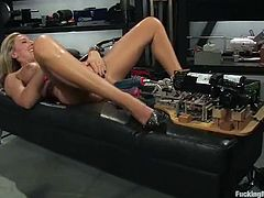 Sexy Skylar Price toys herself and uses a fucking machine
