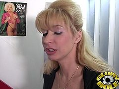 She is in erotic store choosing porn to masturbate in their private room but she didn't know there is fat cock waiting for her.