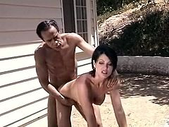 This sex-starved brunette wants her lover's tongue in her pussy. She spreads her legs wide indicating how bad she wants him to eat her snatch. Horny stud licks it greedily like a true cunt licker. After a while he fucks her from behind.