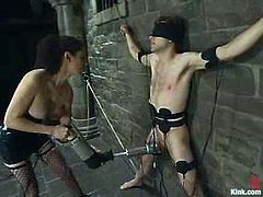 This dude gets hog tied and dominated by his unmerciful mistress. Then she finger and toys his ass with a strap-on.