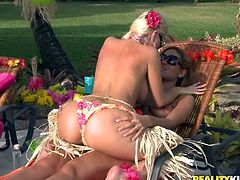 Isis Taylor and her pretty GF are having a Hawaiian party in the garden. They pet each other passionately and then go indoors and please each other with cunnilingus there.