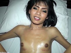 This horny asian ladyboy is always down for some hardcore action. Watch as she deepthroats his big cock in the pov style and then takes it in her tight asshole.
