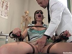 Dana Dearmond is having fun with lewd doctor Erik Everhard. Erik tortures the slut and then smashes her holes with his prick.