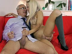 Young blonde goes pretty nasty with her step dad in a nasty hardcore fuck show