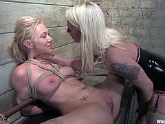 Stunning blonde girl gets spanked and then clothespinned by her mistress. Later on she also gets suspended and toyed rough.