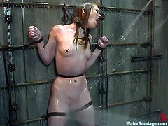 Sexy redheaded milf Madison Young is chained to the wall and then has the hose out on her. Her dominant master sprays her with a powerful stream of water which puts her in pain. She really can't stand the pressure.
