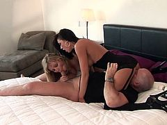 See a horny brunette belle and her blonde friend munching and fingering their clams before sucking a hard cock together. Then it's time for their pussies to be banged balls deep into a breathtaking explosion of pleasure.