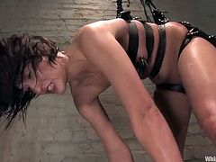 She gets tied up and suspended up on the ceiling! Then her mistress starts touching her muff and twitching it! Pain is what feed their souls!