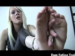This blonde babe shows off her perfect, smooth feet. Her purpose is for you to start jerking off and cum for her, looking at her toes and soles. Afterwards, you must eat your cum.