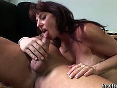 This old woman has a huge sexual appetite. She gets into sideways position to let her lover fuck her hard. Horny stud pounds her fanny ruthlessly in and out just the way she likes it but she can't get enough of his cock. Horny dude tells her to get down on all four so he can pound her fanny in doggy position. He bangs her nice and slow. Dirty-minded slut knows he's about to cum and pleases him with a blowjob.