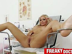 Exclusive Club brings you a nasty free porn video where you can see how the gorgeous blonde Nicky Angel gets her pussy examined by a bizarre doctor while assuming very hot poses.