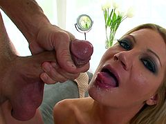 Milf babe Christina Skye doing a hot blowjob