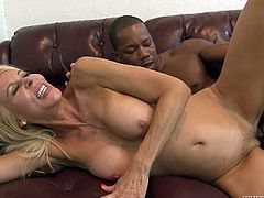 Sexy blonde mom Erica Lauren is getting naughty with some black dude indoors. She rides his BBC ardently and then stands on all fours and gets her pussy drilled doggy style.