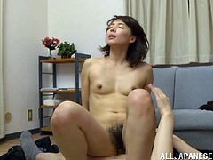 Press play on this hot scene where the horny Asian milf Hisae Yabe takes a ride on this guy's hard cock after taking off her clothes off.