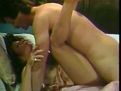 Delightful brunette mommy with pretty face takes big dick up her soaking hairy snatch missionary style. Watch how mommy cums while big cock pounds her wet cooch.