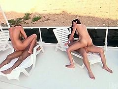 Blond head busty bitchy whoe and dark haired bosomy slut got energetically mish and doggy styles drilled by massive long schlongs on chaise-longueur. Watch these well graced whoes in Wicked porn clip!