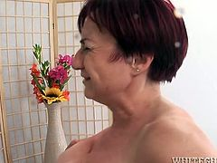 Sandy haired old lustful sexploitress received hardcore hammering of her limp