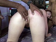 Gangbang for a kinky redhead chick Jodi Taylor! She is among some thick and huge cocks and they are all so starving about her twat.