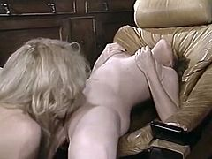 Brown-haired temptress gets her hairy pussy licked by her lover