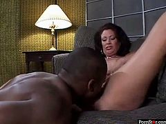 This mature woman knows that she is driving her black lover crazy. She spreads her legs wide to let him get taste of her delicious fanny. Then he wants her to return the favor and go down on him.