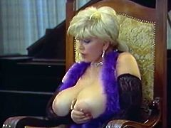 This blondie with huge juicy melons is sick and tired of her neighbor's excuses. Every time she wants to fuck him, he tells her that he's busy.
