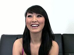 Cock hunting Asian titless tootsie gives awesome dick suck
