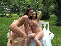Erotic outdoors session with two stunning dolls