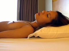 Gorgeous redhaired Asian slut gets pussy fucked. She sucks on guy's big dick and then goes on all four and lets him screw her in various positions to make him cum.