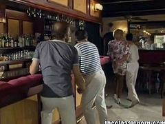 This classy lady with white heels and stockings talks to a guy who is rapidly hitting on her. She spreads her legs for him to fuck her on a pool table from a bar.