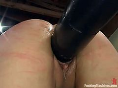 Kinky bitch ChynaWhite is having fun indoors. She sits down on a desk and gets her juicy snatch drilled by a fucking machine.