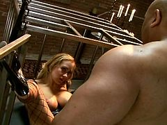 Trina was locked in a cage like an animal when her master let her loose, stuffed his dick in her mouth then drilled her tight ass.
