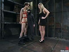 This dude gets undressed and tied up by hot blonde mistress. After that she tortures his dick and whips the ass. Then this guy gets toyed deep with a strap-on.