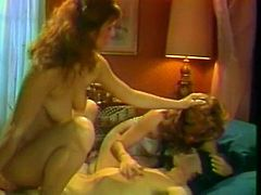 Two shapely brunette bitches give blowjob sucking one cock and riding it in turn. Bitches lick each other's drooling hairy cunts and later on get jizzed.