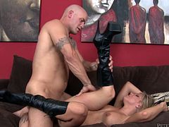 Blonde MILF in high boots gives passionate blowjob to bald guy. Later on she gets fucked hard and deep in both holes.